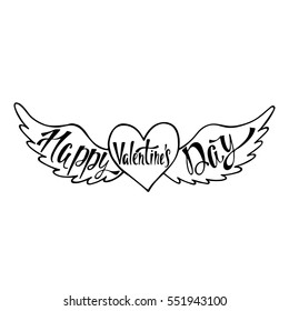Happy Valentine's Day. Handwritten vector lettering design. Calligraphic phrase in heart with wings.