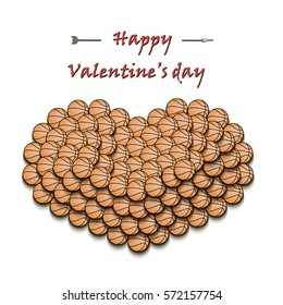 Happy Valentine's Day. Heart from basketball balls on the background basketball shield with a ring. Vector illustration