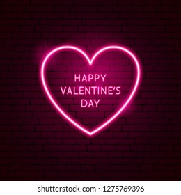 Happy Valentine's Day Heart Neon Label. Vector Illustration of Romance Promotion.