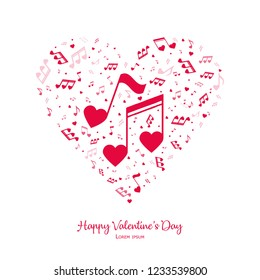 Happy Valentine's Day. Heart from notes. Vector Illustration