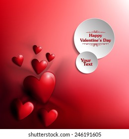 Happy Valentine's Day Heart on white silk with circle blank text. Vector Illustration
