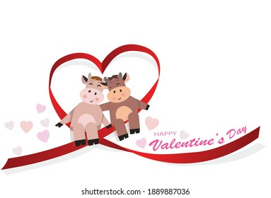 Happy valentine's day of Heart ribbon twist for love in year of the ox concept , wedding day , valentine's day. Vector illustration.