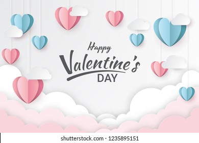 Happy valentine's day with hearts and clouds. Paper cut style. Vector illustration