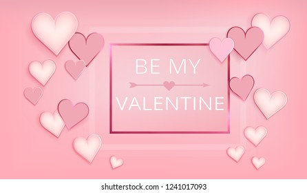 Happy valentines day. Hearts on abstract background. Wedding design. Postcard or internet banner. Be my valentine.