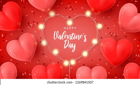 Happy Valentine's Day holiday banner. Vector illustration with 3d red and pink air balloons, red serpentine and confetti, glowing garlands with bulbs in the shape of hearts.