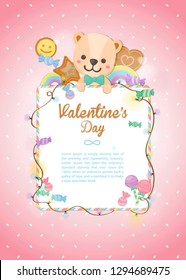 Happy Valentine's day, holiday colorful bear and dessert on pastel background. Greeting card for Valentine's day