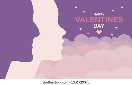 Happy Valentines Day. A holiday of love. Silhouette of a couple of lovers on sky background. The traditional time for romantic dates, as well as shopping on sales. Postcard, poster, invitation, banner - Shutterstock ID 1306929073