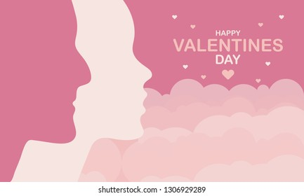 Happy Valentines Day. A holiday of love. Silhouette of a couple of lovers on sky background. The traditional time for romantic dates, as well as shopping on sales. Postcard, poster, invitation, banner - Shutterstock ID 1306929289