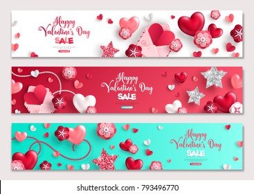 Happy Valentine's Day horizontal banners set with hearts and flowers. Vector illustration. Holiday brochure design, greeting cards, love creative concept, gift voucher, invitation.