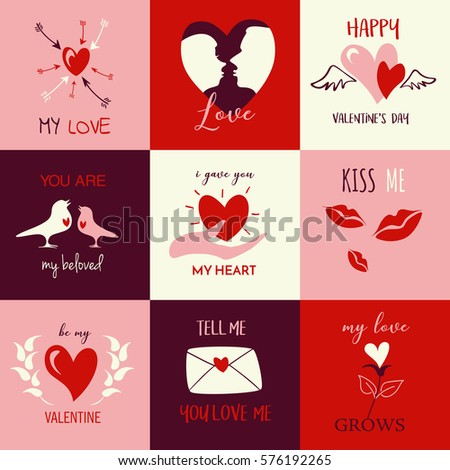 Happy Valentines Day Icons Stock Vector Royalty Free 576192265