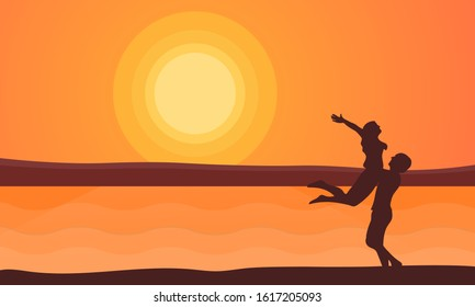 Happy Valentine's day illustration. A couple of lovers hugging on the beach with sunset background - Holiday flat vector.