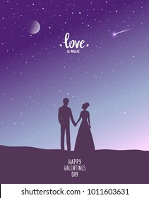 Happy Valentines Day illustration. Romantic silhouette of loving couple at sunset. Vector illustration