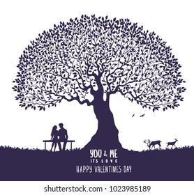 Happy Valentines Day illustration. Romantic silhouette of loving couple under big tree. Vector illustration