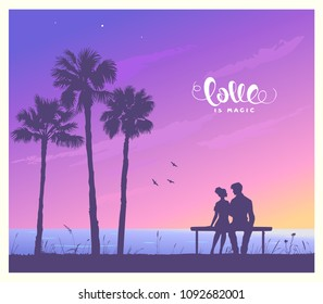 Happy Valentines Day illustration. Romantic silhouette of loving couple sit on a bench near a palm tree. Vector illustration