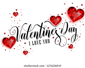 Happy Valentine's Day inscription decorated with red hearts. Vector illustration.