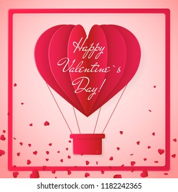 Happy valentines day invitation card template with origami paper hot air balloon in heart shape. Pink background. Vector illustration.