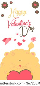 Happy Valentines Day invitation with cute Lion vector. Funny hand drawn lion illustration.
