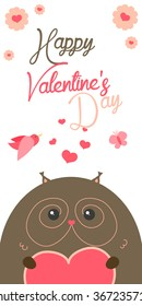 Happy Valentines Day invitation with cute Owl vector. Funny hand drawn owl illustration.