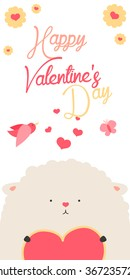 Happy Valentines Day invitation with cute Sheep vector. Funny hand drawn sheep illustration.