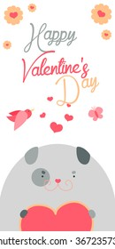 Happy Valentines Day invitation with cute Dog vector. Funny hand drawn dog illustration.
