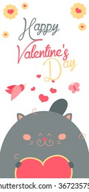 Happy Valentines Day invitation with cute Cat vector. Funny hand drawn cat illustration.