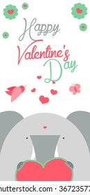 Happy Valentines Day invitation with cute Elephant vector. Funny hand drawn elephant illustration.