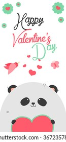 Happy Valentines Day invitation with cute Panda vector. Funny hand drawn panda illustration.