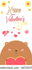 Happy Valentines Day invitation with cute Bear vector. Funny hand drawn bear illustration.