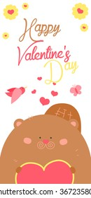 Happy Valentines Day invitation with cute Beaver vector. Funny hand drawn beaver illustration.