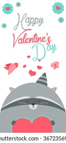 Happy Valentines Day invitation with Raccoon vector. Funny hand drawn raccoon illustration.