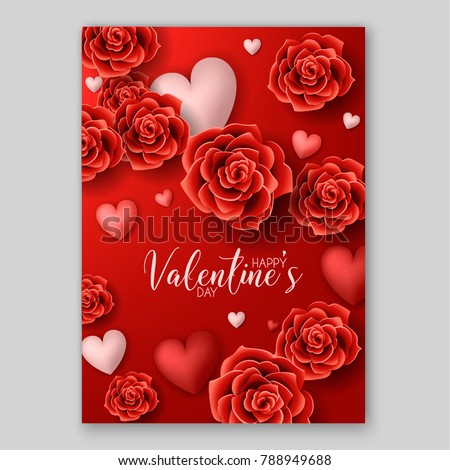 Happy Valentines Day Invitation Red Roses Stock Vector Royalty Free