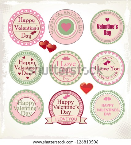 Happy Valentines Day Labels Stock Vector Royalty Free 126810506