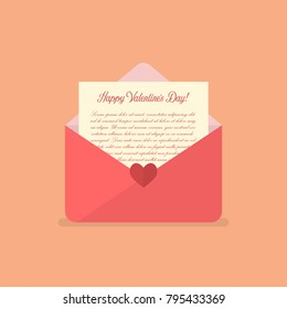 Happy Valentines day letter. Vector illustration
