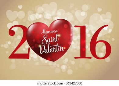 Happy Valentine's day lettering card. (French: Heureuse Saint Valentin) Red heart vector illustration. Gold background.