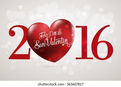 Happy Valentine's day lettering card. (Spanish: Feliz Dia de San Valentin) Red heart vector illustration. White background.