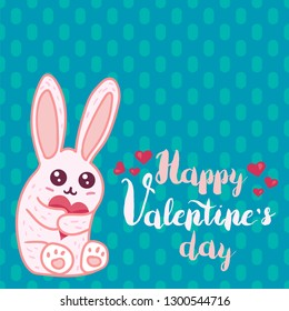 Happy Valentine's Day lettering. Greeting card template. Cute bunny hold heart color illustration