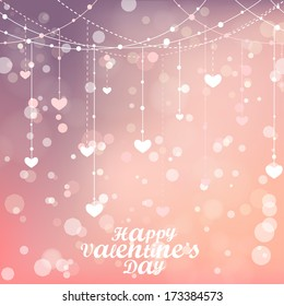 Happy Valentines day lettering Greeting Card. Vector illustration. Magical background with colorful bokeh. Blurred background with lights. Stylish backdrop for you text
