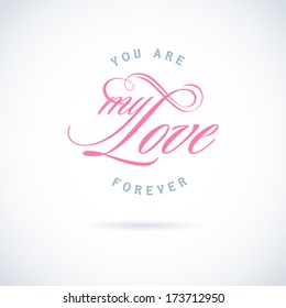 Happy Valentine's Day lettering Greeting Card on gray background, vector illustration template.