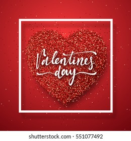 Happy Valentines Day lettering greeting card on red bright heart background. Festive banner and poster.
