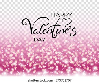 Happy Valentine's Day lettering with heart on pink glitter particles and lights background. Vector glowing texture with confetti for luxury greeting rich card design