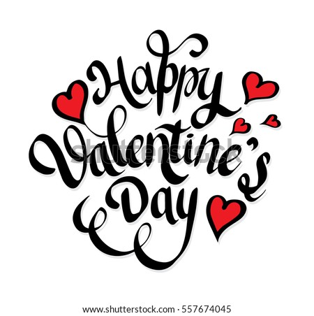 Happy Valentines Day Lettering Hearts Hand Stock Vector Royalty