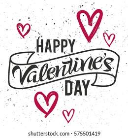 Happy Valentine's Day lettering. Modern handwritten poster