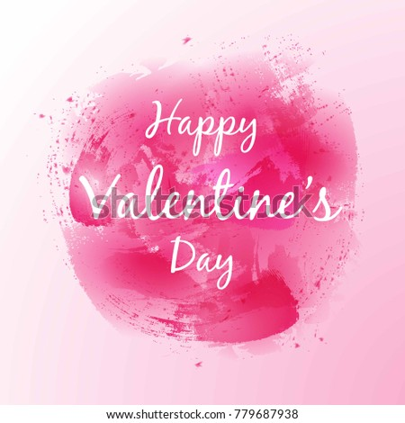 Happy Valentines Day Lettering On Pink Stock Vector Royalty Free