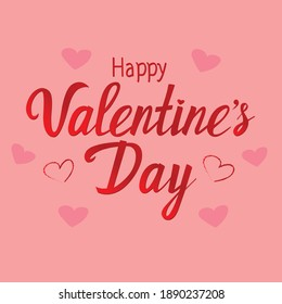 Happy Valentine's Day Lettering over pink background