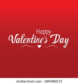 Happy Valentine's Day Lettering over red background