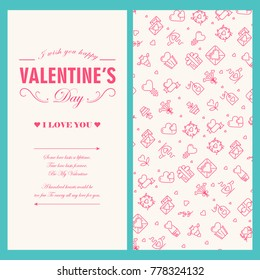 Happy Valentines Day light greeting card with text and red lined festive icons vector illustration