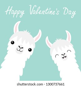 Happy Valentines Day. Llama alpaca animal set. Face neck. Cute cartoon funny kawaii smiling baby character. Fluffy hair fur. Love greeting card. Flat design. Blue background. Vector illustration