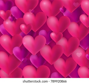 Happy Valentine's Day love background pattern with many hearts flying in the air, bright colors, 3D