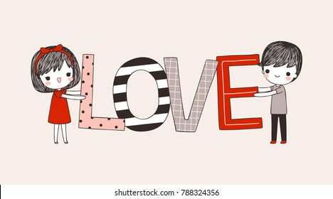Happy valentine's day. Love card. Cute cartoon boy and girl holding big text love for valentines day. Flat design. Colored vector illustration.