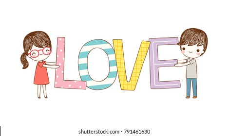 Happy valentine's day. Love card. Cute cartoon boy and girl holding big text love for valentines day. Flat design. Flat design. Colored vector illustration.